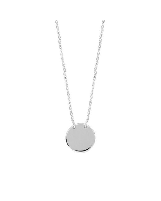 """JewelryAffairs - 14k White Gold Mini Engravable Disk Pendant Necklace, 16"""" To 18"""" Adjustable - Lyst"""