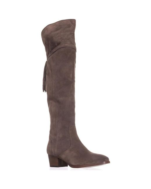 Frye - Gray Clara Back Tassel Over The Knee Slouch Boots, Elephant - Lyst