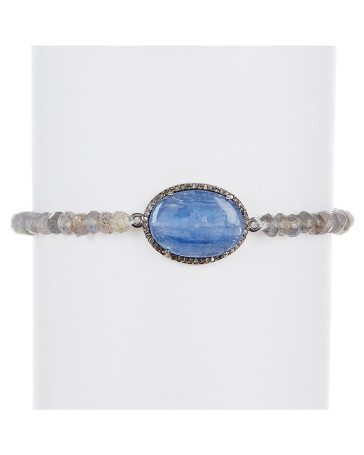 Adornia - Blue Kyanite, Champagne Diamond, And Labradorite Cayenne Bracelet - Lyst