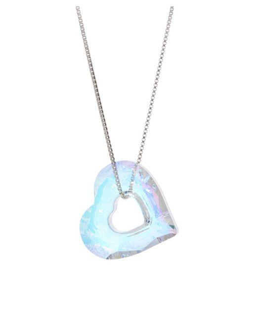 Barzel - Metallic Swarovski Ab Miss U Heart Pendant In Sterling Silver - Lyst