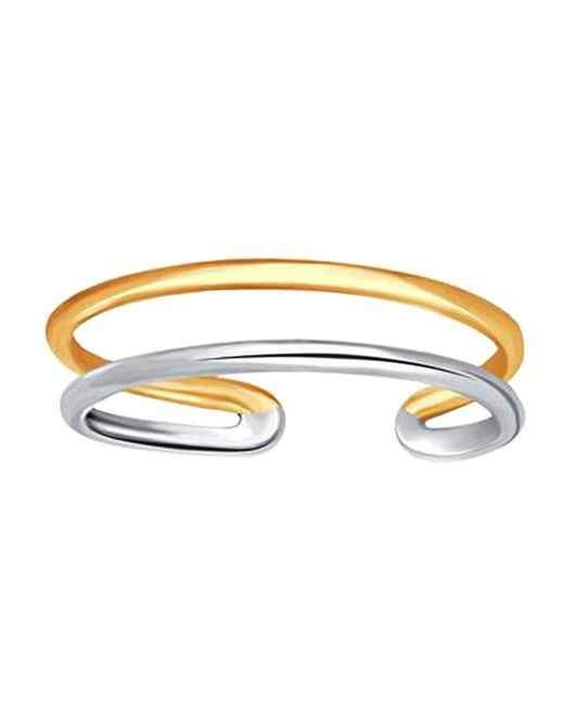 JewelryAffairs | 14k White And Yellow Gold Double Bar Cuff Style Adjustable Toe Ring | Lyst