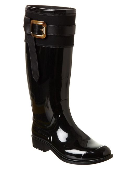 Burberry   Black Belted Equestrian Rain Boot   Lyst