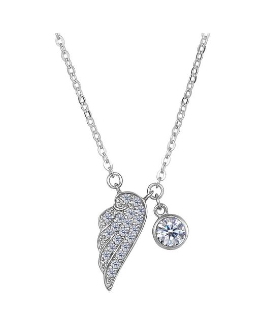 JewelryAffairs   White Sterling Silver Cz Angel Wing Charm Pendant Necklace, 18   Lyst