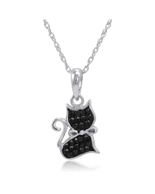 Amanda Rose Collection | Metallic Sterling Silver Black Cat Pendant Necklcae Made With Swarovski Crystals | Lyst