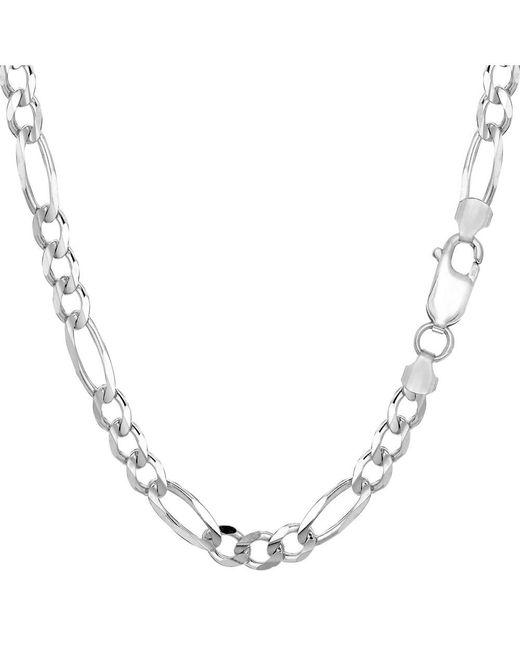 JewelryAffairs - Metallic Sterling Silver Rhodium Plated Figaro Chain Bracelet, 8.5 - Lyst