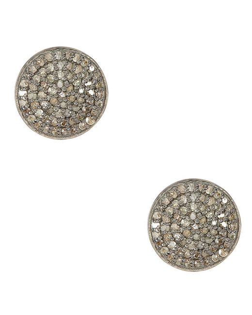 Adornia - Metallic Champagne Diamond And Sterling Silver Imogen Stud Earrings - Lyst