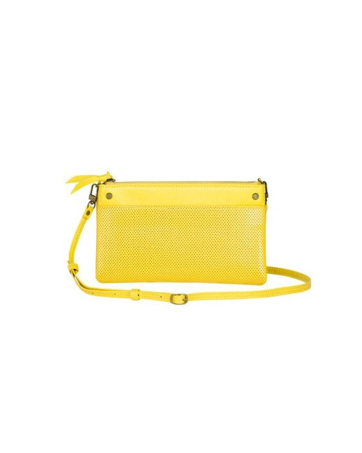 Mofe - Yellow Sonder Convertible Crossbody-bifold Wallet-clutch With Adjustable Strap In Perforated Leather - Lyst