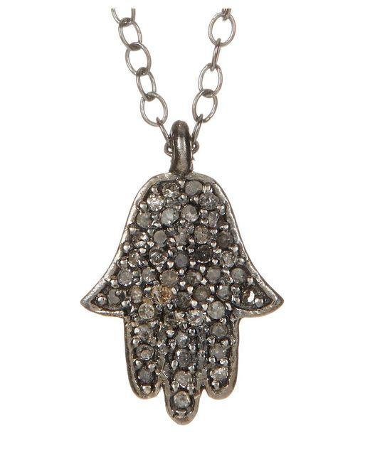 Adornia - Metallic Champagne Diamond And Sterling Silver Hamsa Necklace - Lyst