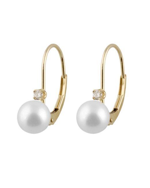 Splendid - White 3pts Diamond Accented Akoya Pearl Earrings Set In 14k Yellow Gold - Lyst