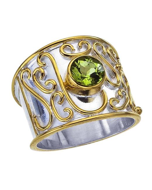 Jewelista - Green Sterling Silver Cigar Band Ring With Peridot - Lyst