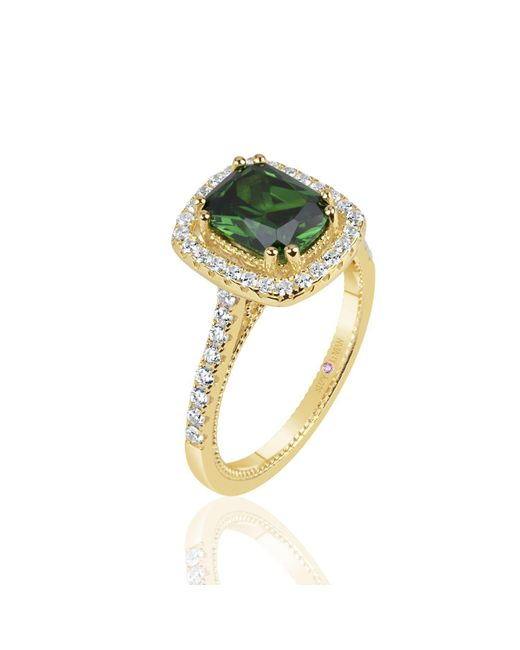 Suzy Levian - Golden Sterling Silver Elongated Cushion Cut Green Cubic Zirconia Solitaire Engagement Ring - Lyst