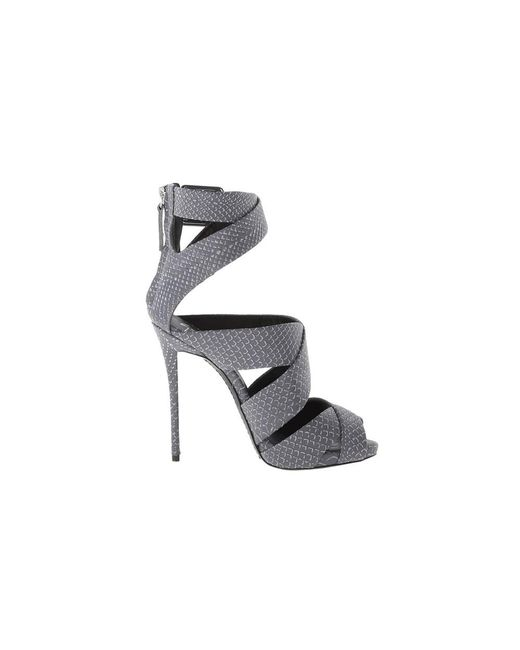 Giuseppe Zanotti - Gray Design Women's Grey/black Leather Sandals - Lyst