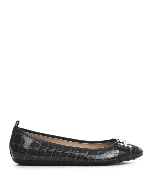 Tod's - Gray Women's Grey Patent Leather Flats - Lyst