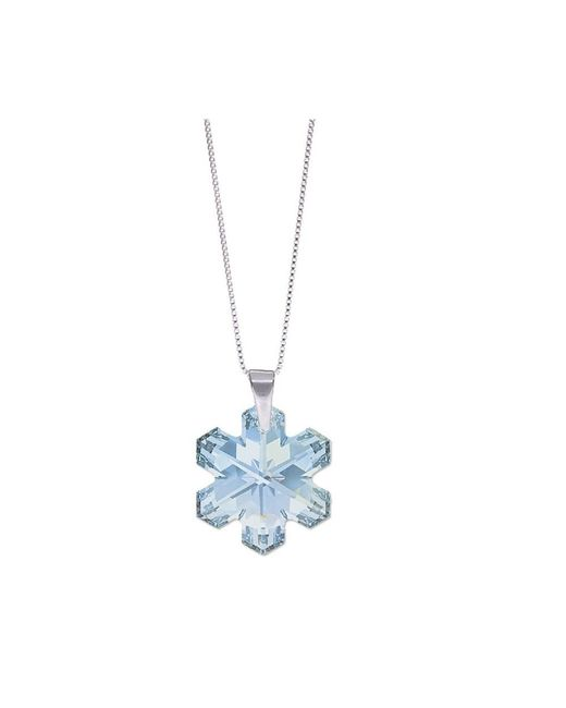 Barzel - Metallic Genuine Swarovski Snowflake Crystal Pendant In Sterling Silver Chain Necklace - Lyst
