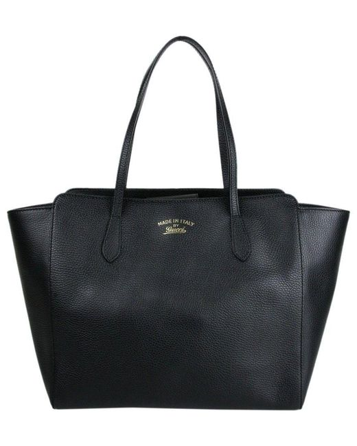 Gucci - Women's Swing Black Leather Large Tote Bag 354397 1000 - Lyst