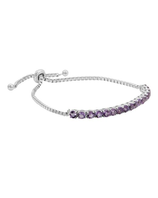 Amanda Rose Collection - Purple Gemstone Bolo Style Bracelet In Sterling Silver, Choice Of Amethyst, Blue Topaz Or Peridot - Lyst