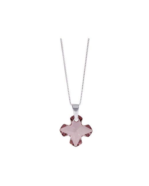 Barzel - Metallic Swarovski Antique Pink Cross Pendant In Sterling Silver - Lyst