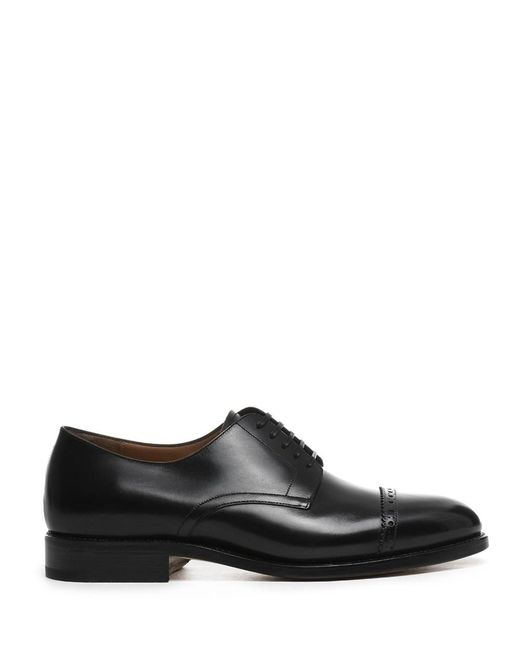 Ferragamo | Men's Black Leather Lace-up Shoes for Men | Lyst