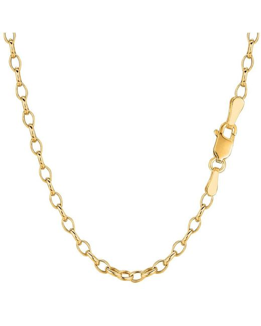 JewelryAffairs - 14k Yellow Gold Oval Rolo Link Chain Bracelet, 3.2mm, 7 - Lyst