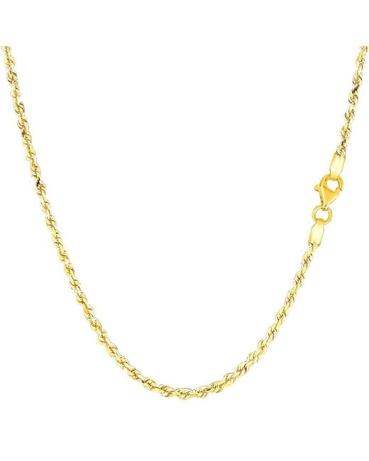 JewelryAffairs - 14k Yellow Gold Solid Diamond Cut Royal Rope Chain Necklace, 2.0mm, 20 Inch - Lyst
