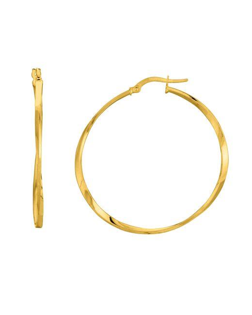 JewelryAffairs - Metallic 14k Yellow Gold Shiny Squaretube Twisted Hoop Earrings, Diameter 40mm - Lyst