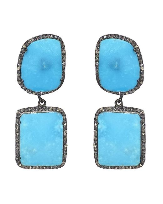 Adornia - Blue Turquoise And Champagne Diamond Riverside Earrings - Lyst