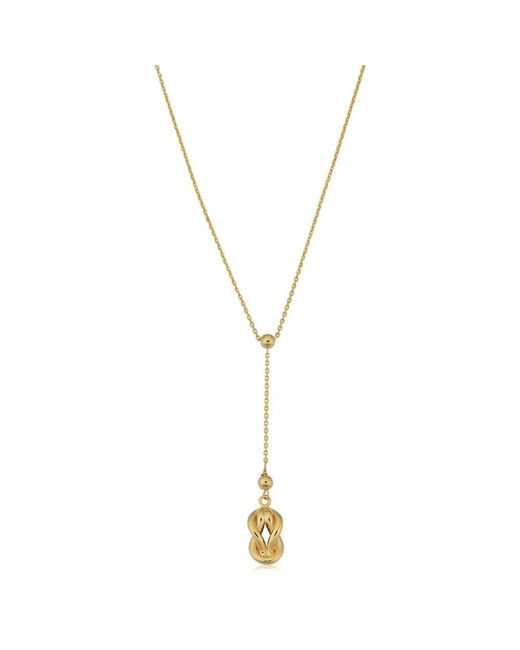 JewelryAffairs - 10k Yellow Gold Love Knot Drop Pendant Necklace, 18 - Lyst