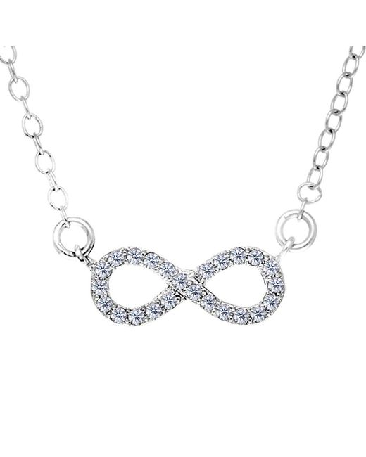 JewelryAffairs   White Infinity Sign Link And Cz Necklace In Sterling Silver, 18   Lyst