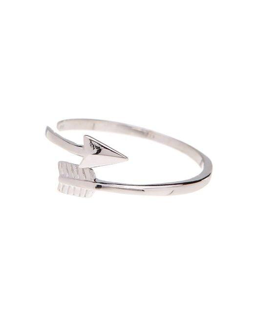 Adornia - Metallic Sterling Silver Aurora Arrow Ring - Lyst