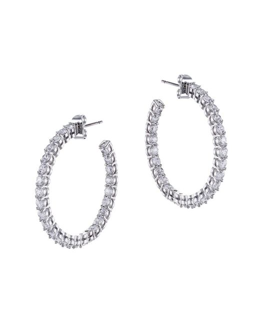 CZ by Kenneth Jay Lane | White Plated Inside-out Hoops | Lyst