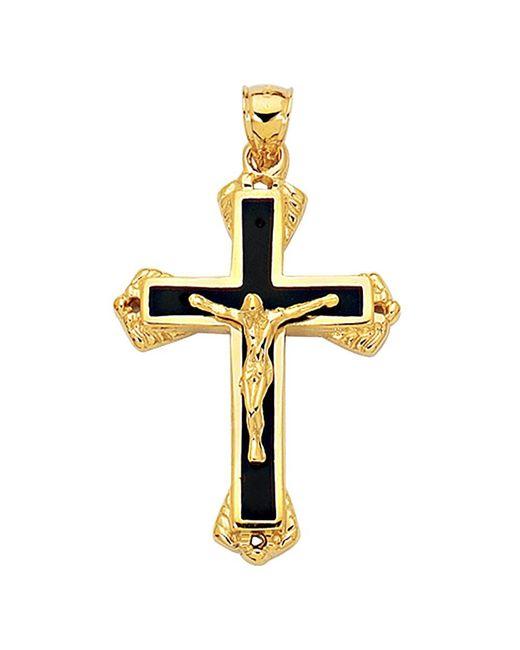 JewelryAffairs   14k Yellow Gold And Black Enamel Crucifix Cross Mens Pendant for Men   Lyst