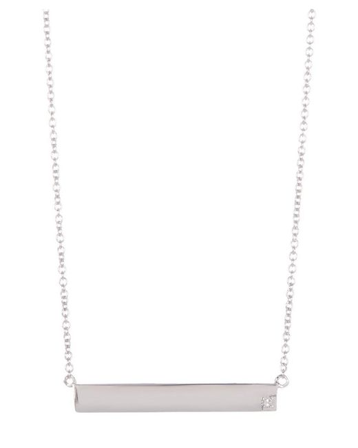 Adornia - Metallic Sterling Silver And Diamond Bar Necklace - Lyst