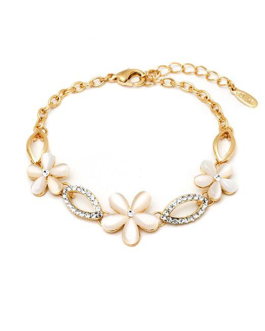 Peermont | Metallic Gold And Crystal Elements Flower Link Bracelet | Lyst