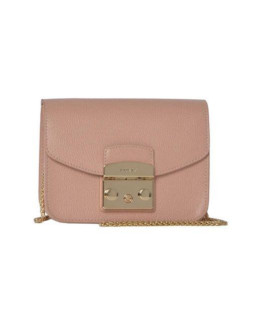 Furla | Women's Pink Leather Shoulder Bag | Lyst
