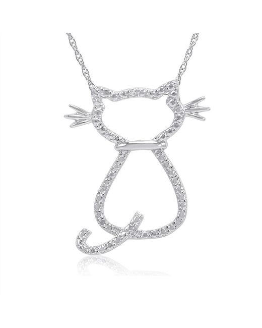 Amanda Rose Collection | White Diamond Accent Cat Pendant-necklace In Sterling Silver | Lyst