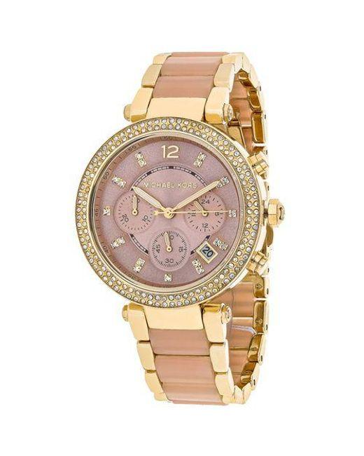 47417c8afb69 Lyst - Michael Kors Women s Parker Watch in Pink