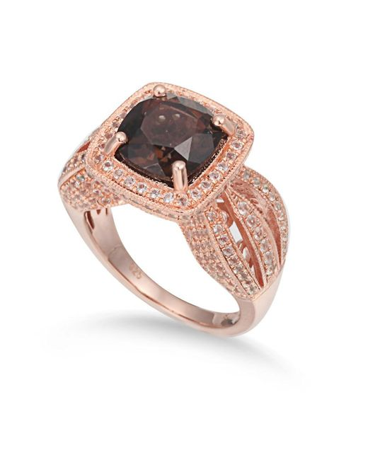 Suzy Levian | Brown Sterling Silver 4.5 Cttw Smoky Quartz Ring | Lyst