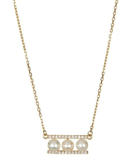 Adornia - Metallic Pearl Bar Necklace Yellow Gold Plated Silver Swarovski Crystal Freshwater Pearl - Lyst