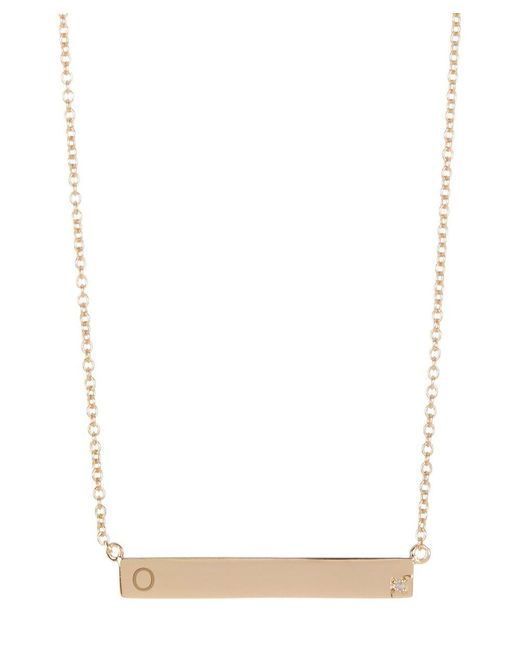 Adornia - Yellow Gold Vermeil And Diamond Bar B Necklace - Lyst