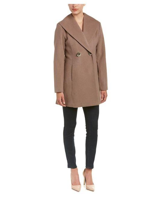 T Tahari - Natural Collette Wool-blend Coat - Lyst