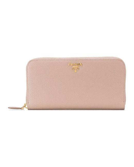 Prada - Women's Pink Leather Wallet - Lyst