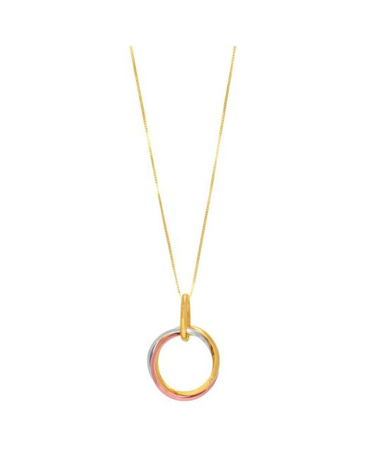 "JewelryAffairs | White 14k Tricolor Rose Gold Open Trinity Ring Pendant On 18"" Necklace 