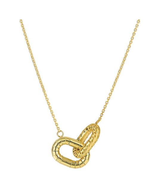 """JewelryAffairs - 14k Yellow Gold Shinny And Matt Finish Interconnected Oval Element Links On 18"""" Necklace - Lyst"""