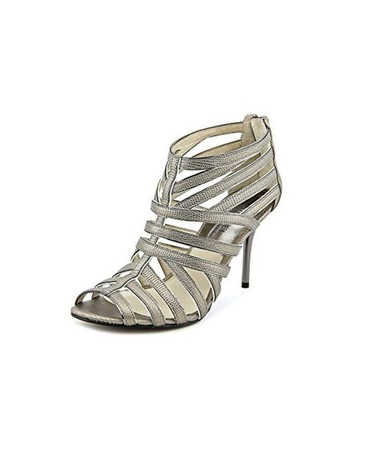 MICHAEL Michael Kors | Gray Tatianna Back Zip Leather Sandals | Lyst