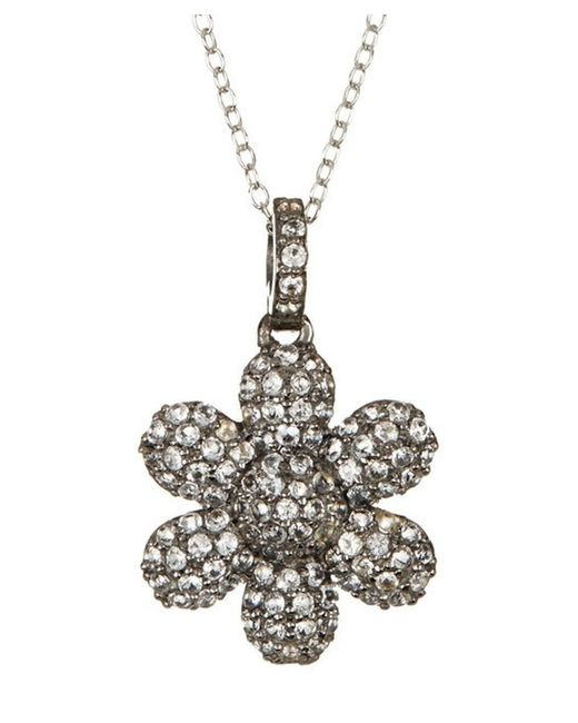 Adornia   White Topaz And Sterling Silver Flower Power Pendant Necklace   Lyst