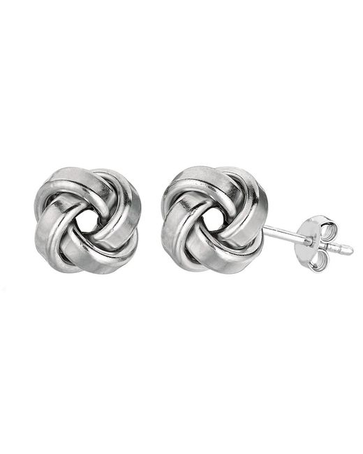 JewelryAffairs - White Sterling Silver Rhodium Finish 9mm Shiny Love Knot Stud Earrings - Lyst