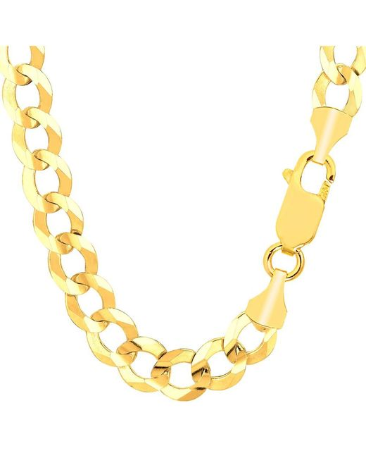 JewelryAffairs - 14k Yellow Solid Gold Comfort Curb Chain, 10.0mm, 8.5 for Men - Lyst