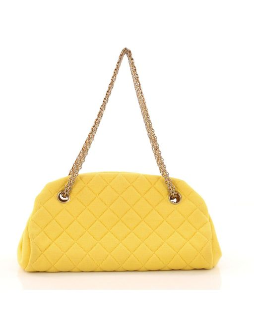 e5cb365add79 ... Chanel - Yellow Just Mademoiselle Handbag Quilted Jersey Small - Lyst  ...