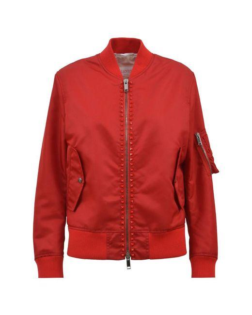Valentino | Women's Red Polyamide Outerwear Jacket | Lyst