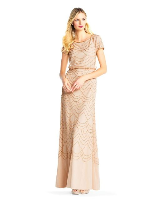 Lyst - Adrianna Papell Short Sleeve Beaded Blouson Gown